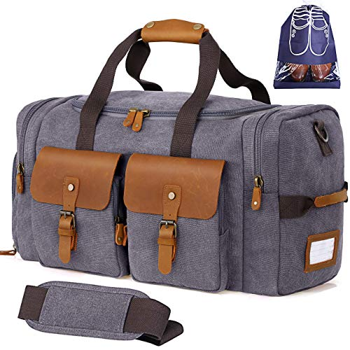 Flipzon Duffle Bag for Men Women Canvas Genuine Leather Large Duffel Bag Overnight Weekender Bag with Waterproof Shoe Compartment and Shoulder Strap with Pad, Gym Bag Travel Luggage Bag with Tag(Grey)