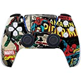 Skinit Decal Gaming Skin Compatible with PS5/PS5 Digital Edition DualSense Controller - Officially Licensed Marvel Spider-Man Vintage Comic Design