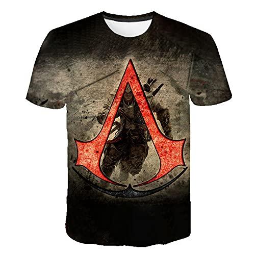 Assassin'S Creed Camiseta de para Hombre Ropa Informal a la Moda, 3D Patrón Impreso Camisetas Cuello Redondo Gracioso Verano Casual Manga Corta T-Shirt-Pattern_Color_5XL