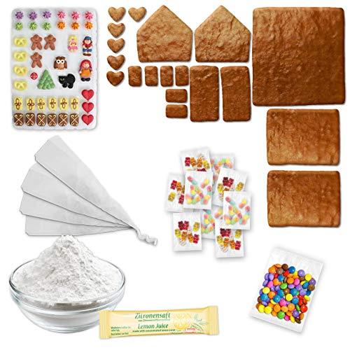 Lebkuchenhaus Bausatz - All-Inclusive Bau Set mit Bastel Zubehör - ca. 17x16x16cm - Premium Qualität - Pfefferkuchenhaus Lebkuchenhäuschen LEBKUCHEN WELT