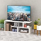 Casamudo Asymmetric Style TV Stand, Modern Media Console with 4 Open Shelves, Solid Wood Media Furniture for TVs, Family Size Geometric Entertainment Center for Living Room (White)