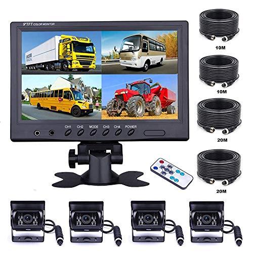 OiLiehu 9 Zoll Auto RüCkfahrkamera Set mit 4 Geteilten Monitor Vorderansicht View, 4 X Kabelge Auto Kamera 18 IR-Nachtsicht, Mit 2 X 10m Und 2 X 20m Kabeln FüR LKW, Wohnmobile, AnhäNger, Bus