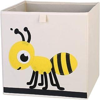 ZXXFR Panier À Linge Sale,Cute Cartoon Abeille Broderie Broderie Animaux Tissu Oxford Cubes Boîte De Rangement Pliable Org...