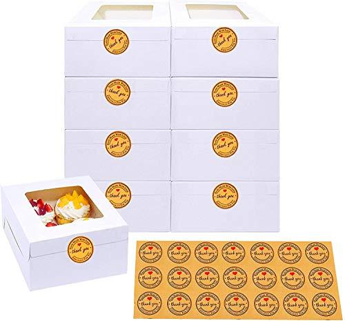 9 cajas de panadería blancas con ventana de papel cajas de regalo para pasteles, magdalenas, pasteles pequeños y galletas (9 unidades de 15.3 x 6.3 x 7.95 cm)