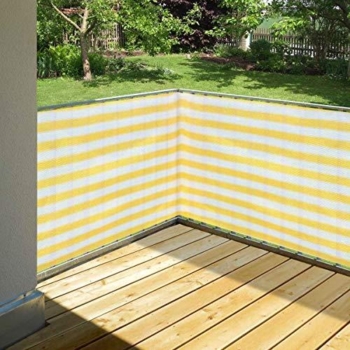 bonsport Balkonsichtschutz gelb/weiß 90 x 500 cm aus HDPE: wetterfest & langlebig :: Wind- und Sichtschutz für Balkon, Terrasse, Garten ohne bohren