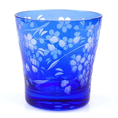 Sakura Cherry Blossoms Design Rock Glass 11.5oz Edo Kiriko Cut Glass - Blue [Japanese Crafts Sakura]