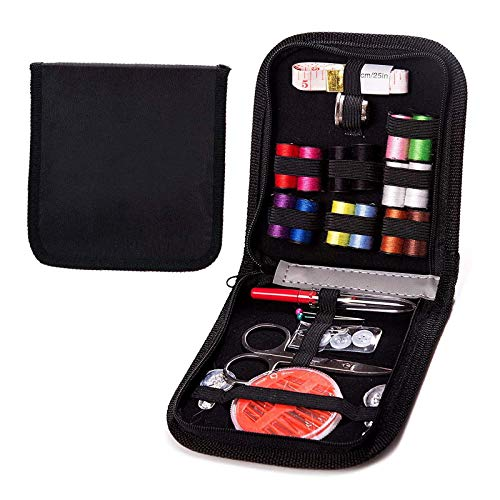 L-Hydrone Sewing Kit for Needles Kids DIY Sewing Supplies Organizer Filled 28 Premium Sewing Supplies with Scissors, Thimble, Thread, Sewing Needles, Tape Measure Etc,Carrying Case(Black S)
