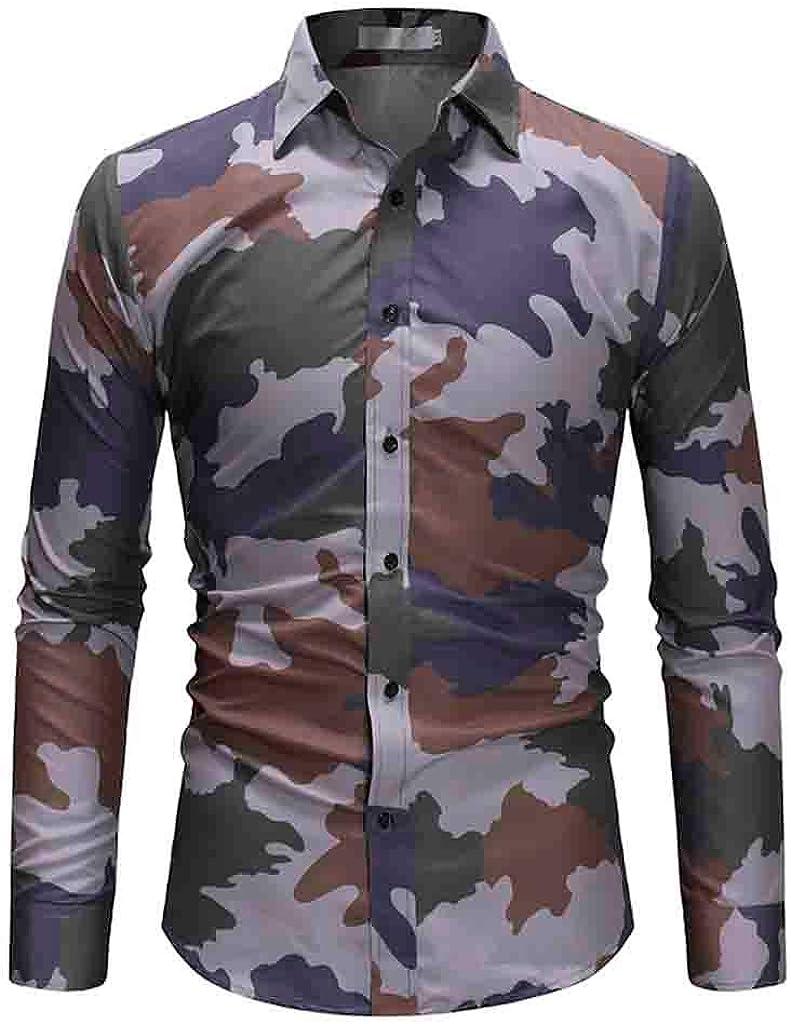 Super intense SALE iLXHD discount Mens Long Sleeve Fashion Button Size Large Camouflage Casu