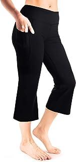 "Yogipace Women's 20""/22""/24"" Cropped Flare Yoga Pants with Pockets Capri Length Slim Fit Pants Lounge Crop Pant"
