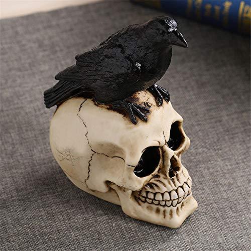 StMiYi Skulptur Raven Taro Handwerk Ornamente Persönlichkeit Halloween Dekorationen Wohnzimmer, Modell Ghost Head Dekoration