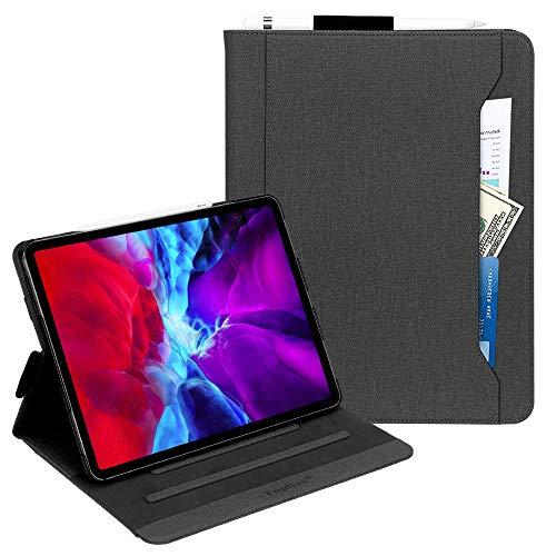 Toplive Neue iPad Pro 12.9 Hülle (2020), Ständer Folio Hülle für iPad Pro 12.9 Zoll 2020 mit Apple Stifthalter, Auto Schlaf/Aufwach Funktion und Mehreren Betrachtungswinkeln,Schwarz