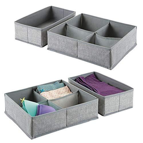 mDesign Juego de 4 cajas organizadoras de tela con 1 o 4 compartimentos – Los organizadores para cajones y armarios ideales – Versátiles cestas de tela – Color: gris