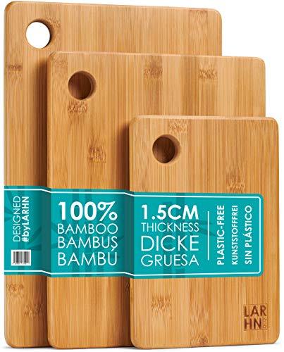 LARHN Hochwertige Schneidebretter Holz - 3 Extra Dickes Bambus Schneidebrett Set - 33x22cm / 28x22cm / 22x15cm - Verwenden Sie als Küchen-bretter, Frühstücksbrettchen, Brotbretter und Servierbretter