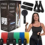 Premium Quality Resistance Bands Set for Home Gym | Workout Bands / Exercise Bands Stackable up to 150lb | Ideal Exercise Equipment for Home Workouts with Door Anchor, Ankle Strap and Rubber Handle
