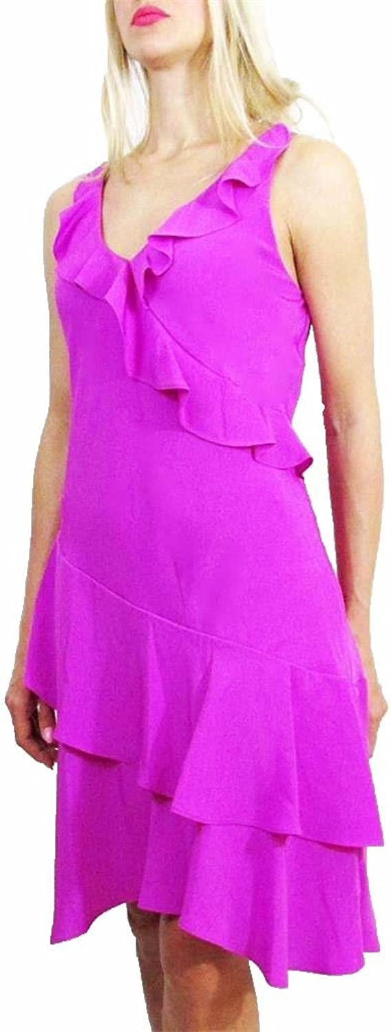 Lauren Ralph Lauren Womens Ruffled Sleeveless Casual Dress Purple 10