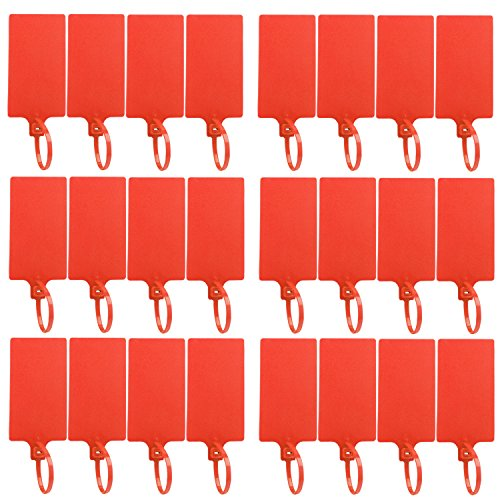 DROK 24 Pack Red Plastic Parcel Tags, High-Class Writable Luggage Inventory Tag Label, 58 × 100mm Identification Tag with Tagging Fastener