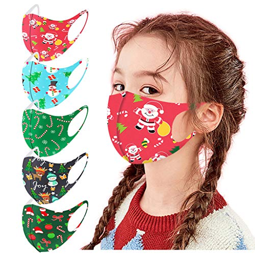 5PC Kids Christmas Cute Print Reusable Mask Costumes School Outdoor Face Bandana (G)