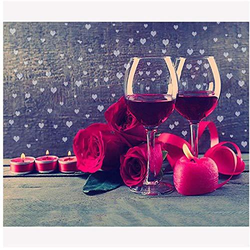 WhjfLins 40x60cm DIY 5D Diamond Painting Kits'Red Wine Rose', Square Full Drill, Diamond Mosaic Puzzle Art Home Wall Decor Gift Frameless