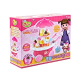 KONGSUNI Sweet Ice Cream Toy Cart Play with 23 Desserts Candy Light & Music Portable Pretend Play Food Kit Best Gift for Boys and Girls