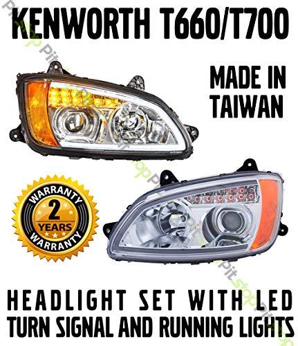 Kenworth T660 T700 Chrome Projector Headlights Set Driver Passenger Pair LED