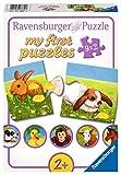 Ravensburger- Adorables animaux Animales Puzzle, 9 x 2 Piezas, Color Blanco, púrpura, Verde, Amarillo, marrón (07331 3)