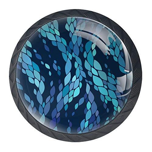 Botones de cristal clásicos azules para gabinete de 4 piezas de 35 mm de asas para armarios y aparadores
