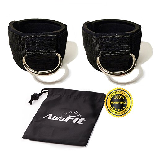 AbraFit Premium Ankle Straps for Cable Machines(Pack of 2),Neoprene Padded Ankle Straps with D-Ring(Free Carry Case Included)