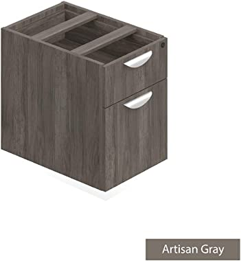 GOF 3 Person Separate Workstation Cubicle (5'D x 19.5'W x 4'H) / Office Partition, Room Divider (Pedestal Only, Artisan Grey)