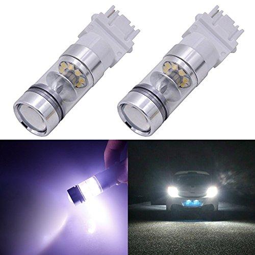 TABEN 3156 Ampoule LED Blanc Clignotant Ampoule 1600LM Puces CREE extrêmement Lumineuses avec lentille de projecteur 3156A 3456 Feu de freinage arrière Back Up Reverse Lumière 12V (Pack de 2)