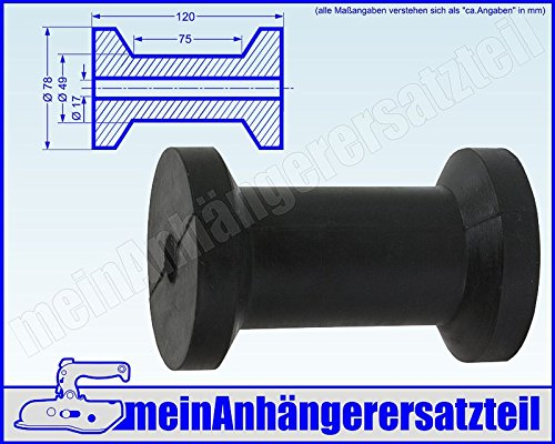 Gummi Kielrolle für Bootsanhänger Bootstrailer 120x78mm - Bohrloch 17mm