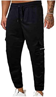 CuteRose Mens Relaxed Waistband Stretchy Sport Long Pants Comfort Joggers Pants