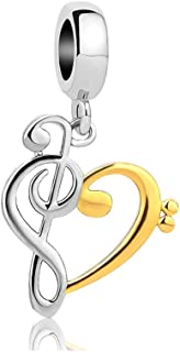 Gold Plated Heart Love Music Note Charm Beads For Bracelets