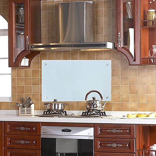 wolketon Küchenrückwand Spritzschutz Glas Klarglas Küchenrückwand für Küche, Herd, Fliesen viele Größen (Milchglas, 50x100cm)
