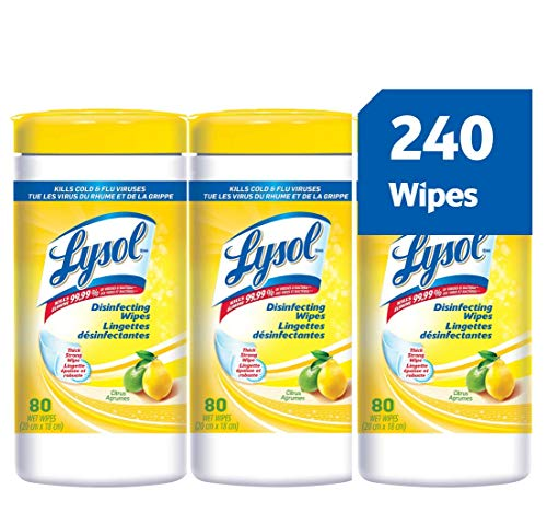 Lysol Disinfecting Surface Wipes, Citrus, 3X80 Wipes, Disinfectant, Cleaning, Sanitizing (240 Wipes)