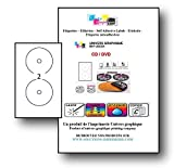 10 foglio di etichette 2 CD/DVD opaco Adesivo Adesivo Etichette fogli di diametro 117 mm per stampanti laser e inkjet