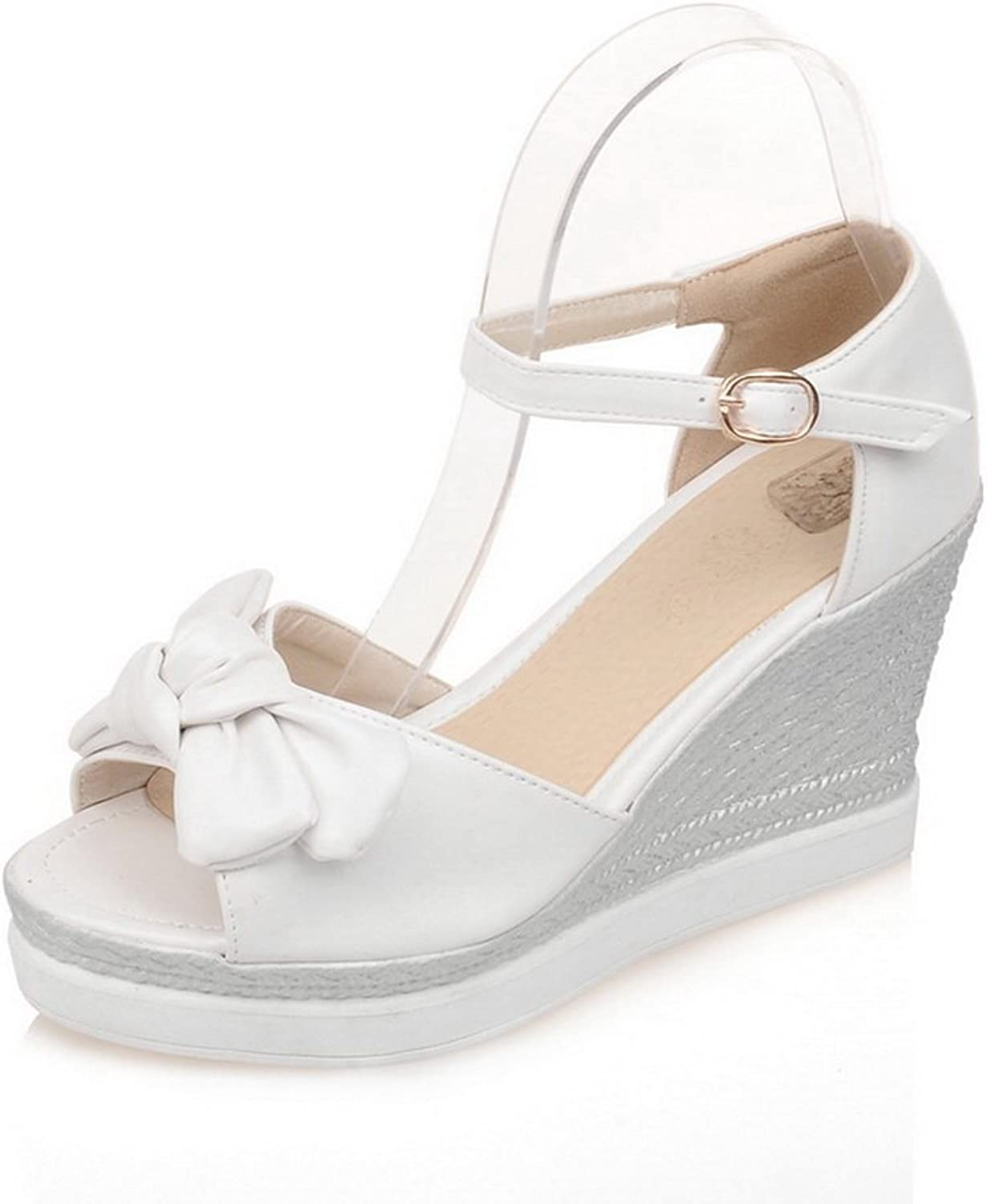 1TO9 Womens Bows Wedges Buckle Urethane Platforms Sandals MJS02579