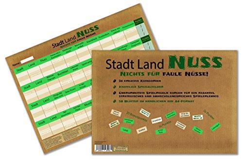 Kulinu Stadt Land Nuss, das kreativste Stadt Land Fluss Aller Zeiten, Spiele-Block, mit 34 Kategorien - 100% Made in Germany