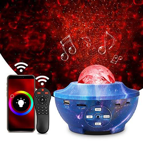 Proiettore Stelle Soffitto, Wifi Intelligente Proiettore Cielo Stellato, Proiettore Galaxy Rotante Supporto Alexa / Google Assistant / Bluetooth / USB + Telecomando