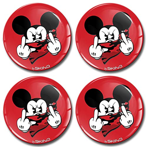 SkinoEu® 4 x 55mm Aufkleber 3D Gel Silikon Autoaufkleber Stickers Maus Mouse Mittelfinger Felgenaufkleber Für Radkappen Nabenkappen Nabendeckel Auto Tuning Andere Größe A 3555