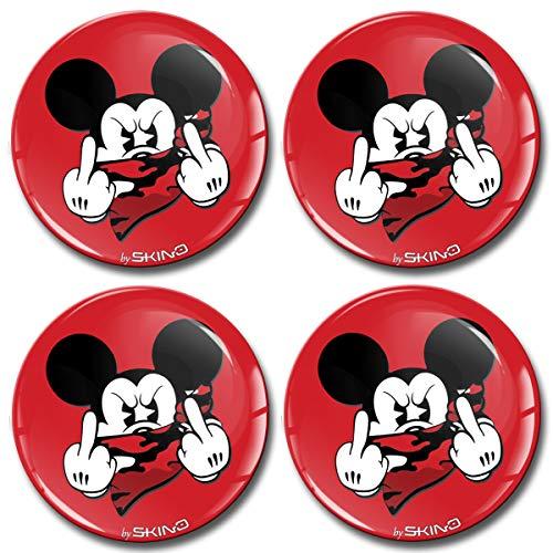 SkinoEu® 4 x 55mm 3D Silicona Adhesivo Pegatinas Stickers Universal Tapas De Rueda De Centro Tapacubos para Coche Auto Tuning Brillo Mickey Mouse A 3555