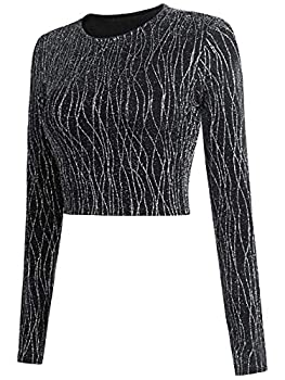YumiDay Cropped Long Sleeve Tops for Women  Black Glitter 2,M
