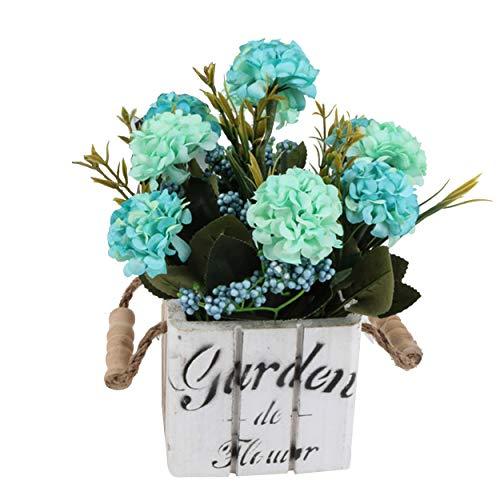 Flikool Hortensia Flores Artificiales con Macetas de Madera Plantas Artificiales con Pot Hydrangea Flor Artificial Bonsai Hogar Adornos de Decoración - Azul Flores con Square Blanco Pot