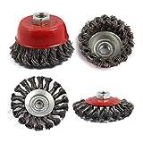 4Pcs M14 Set di spazzole per tazza con ruota a spirale in acciaio inossidabile M14 per kit...