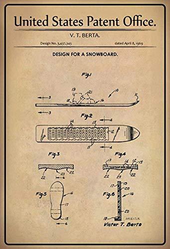 NWFS patent ontwerp voor een snowboard metalen bord bord metalen plaat plaat metalen tin Sign gewelfd gelakt 20 x 30 cm