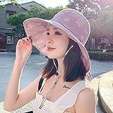 Sombrero De Playa para Verano Coreano Mujeres Algodón Estrella Sombreros para El Sol ala Ancha Plegable Anti-UV Sombrero De Lazo De Playa Panamá Mujer Señora Gorra De Pescador