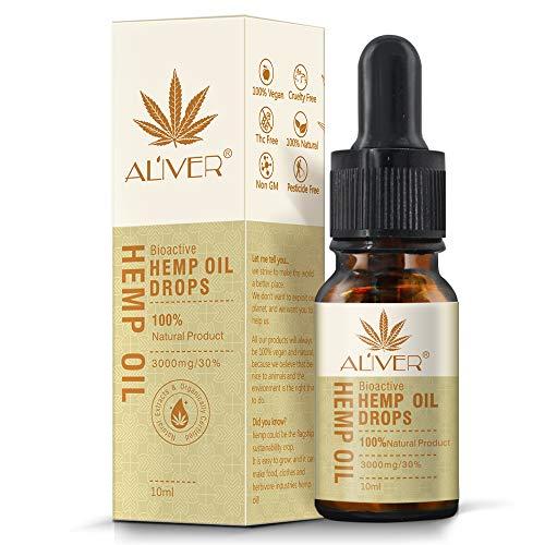 Aceite de cáñamo gotas 30% alta resistencia aceite de semillas de cáñamo 3000 mg extracto de cáñamo bio-activo orgánico ayuda con el sueño, la piel y el cabello, calma el estado de ánimo (10 ml)