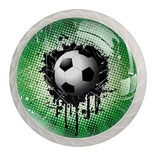 Xingruyun Schrankknöpfe Fußball-Siegel Möbelgriff Runde Schubladenknöpfe für Bücherregal 4 Stück 3.5×2.8CM