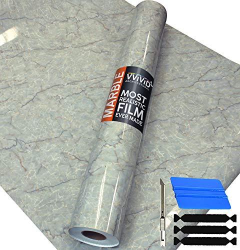 VViViD Self-Adhesive Marble Vinyl 48 Inch x 50 Foot Full Kitchen Wrap Bulk Roll Including Free Toolkit (Gloss Aegean Blue)