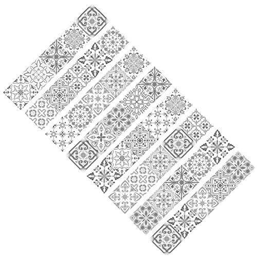 Onsinic 8pcs Escalera Pegatinas, Mandala Decorativo Conjunto De Stickers, Teja Etiquetas Autoadhesivas Escalera Mural Vinilo para Paredes De Cocina Inicio Decoración 15 * 75cm