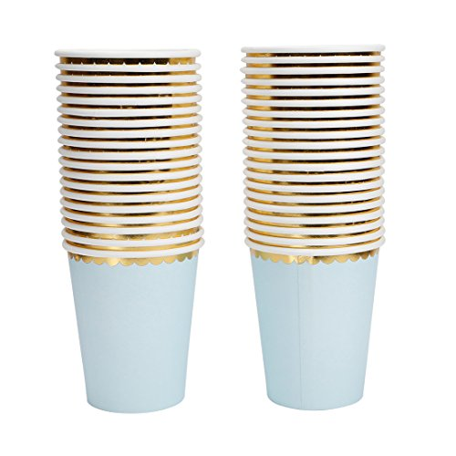 Geeklife Gold Paper Cups with Sparkly Gold Foil Border Disposable Paper Cups 9oz for Dinner,Lunch,Birthday and Baby Shower,40 pcs